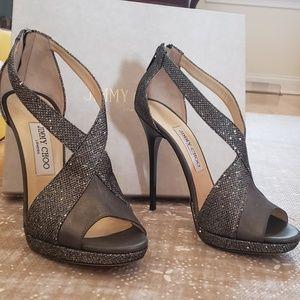 Jimmy Choo Grey Metallic Heel - Size 39.5